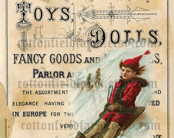 Victorian Boy in Red  On Sled  Vintage Toy Ad Digital Sheet C-480 Large Image  5 X 7 for Pillows, Aprons, Totes, Stockings, ECS