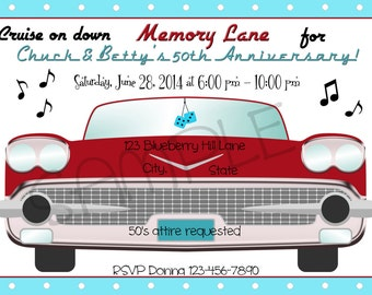 1950s Cruise On Down Memory Lane Party Invitation Personalized Digital Invitation C-556