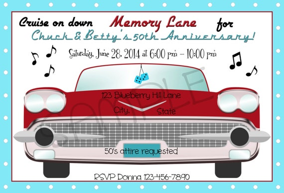 1950s Cruise On Down Memory Lane Party Invitation Personalized – 1950s Party Invitations