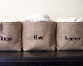 ON VACATIONset of 3 personalized burlap baskets / mittens / scarves / hats / personalized baskets / storage basket / organization / organiz