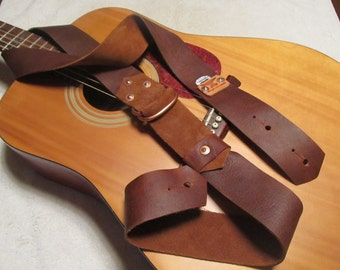 Oil-tanned Leather Guitar Strap w/ pick holder Rust color . Monogram available. Custom Leather Guitar Strap
