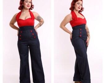 Land Ahoy - 40s Denim Wide Leg Jeans - Navy Buttons