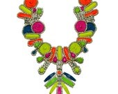 SALE- Tribal Punk Necklace- Neon