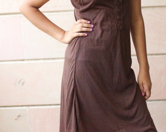 Brown Easy Breezy Sleeveless Dress