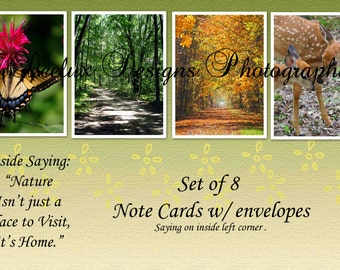 Nature is Home Blank note card set of 8