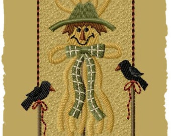 Primitive Machine Embroidery Design-Raffia Scarecrow--Version 1--(4X4)-INSTANT DOWNLOAD