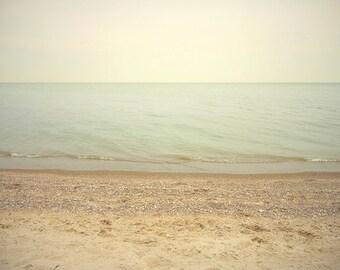 Simple Beach Art Print.  Beach photography, Lake Huron, Michigan beaches, serene beach scene.