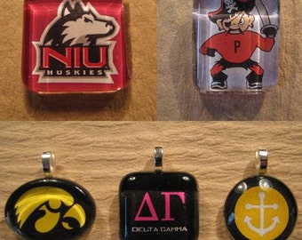 "Custom Glass Pendant Personalized with YOUR School, Club, Team, or Corporate Logo or Artwork with 24"" Chain Necklace"