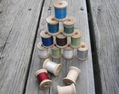 Vintage wooden spools of Belding Corticelli Thread.