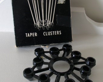 Mid Century Modern Taper Cluster Spiderweb Wrought Iron Candle Holder