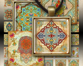 """1""""x1"""" and 1.5""""x1.5"""" square images MARRAKECH moroccan tiles Printable Download Digital Collage Sheet for pendant trays, magnets, bezels"""