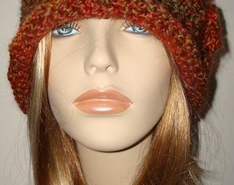 Crochet Harvest Blended 1920's Style Cloche Flapper Hat/Cloche Hat/Warm Winter Cloche Flapper Hat-With matching crochet flower