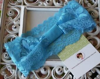 NEW ITEM----Boutique INTERCHANGABLE 2 inch Lace Girl Headband---Turquoise
