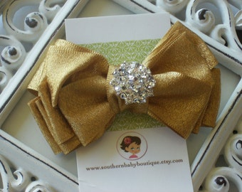 INVENTORY BLOWOUT SALE---Boutique Triple Layered Hair Bow Clip with Rhinestones-----Metallic Gold----