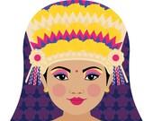 Indonesian Balinese Dancer Matryoshka Art Print, Kids Wall Art
