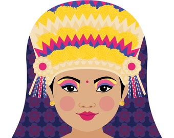 Balinese Wall Art Print featuring cultural traditional dress drawn in a Russian matryoshka nesting doll shape