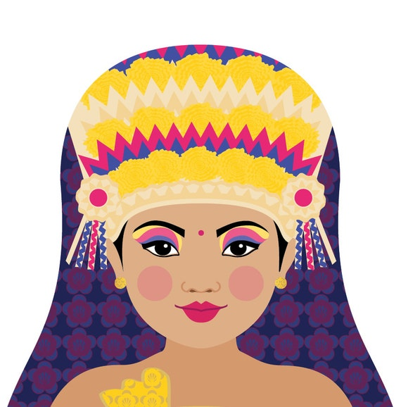 Balinese Wall Art Print featuring cultural traditional dress drawn in a Russian matryoshka nesting doll shape