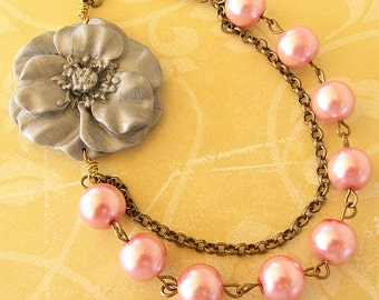 Flower Necklace Bridesmaid Jewelry Grey Necklace Pink Jewelry Beaded Necklace Wedding Gift for Her