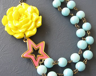 Flower Necklace Star Jewelry Star Necklace Pendant Necklace Bridesmaid Jewelry Aqua Statement Necklace Yellow Jewelry