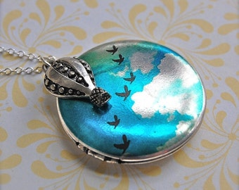 The Birds in Flight Locket and Hot Air Balloon - Sterling Silver