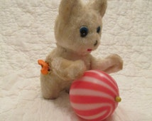 Vintage Wind up Kitten with ball of yarn Retro Toy SALE