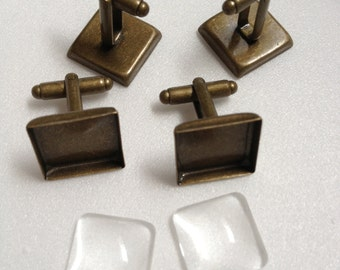 20 pcs Combo  - 16mm Antique Bronze Plated Brass Square Cufflink Blank with Glass tile inserts