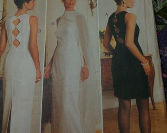 Sheath Column Dress with Cut Out Back MOB Formal Evening 6 8 10 12 Butterick 3803 A J Bari