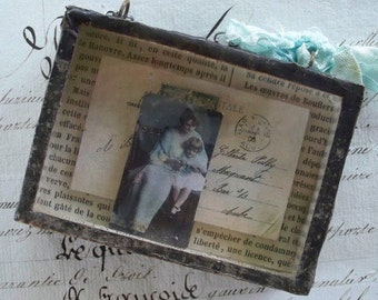 For Daddy Somewhere in France - Vintage Assemblage Mini Shadow Box