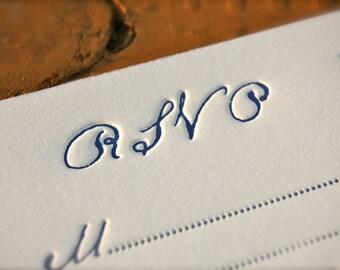 Custom Letterpress Wedding Invitations Antique Script DEPOSIT