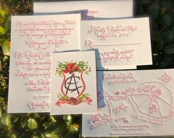 Raspberry Pink Wedding Invitation, Letterpress Wedding Invitations, Hand Calligraphy Wedding Invitation with Custom Map