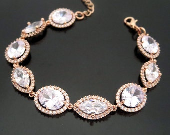 Rose Gold bracelet, Bridal bracelet, Bridal jewelry, Crystal bracelet, Bridesmaid bracelet, Wedding bracelet, Rose Gold Jewelry, Bridesmaids