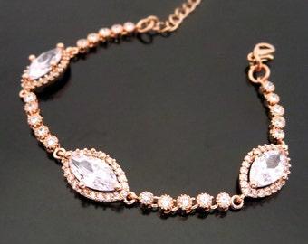 Rose Gold Bracelet, Bridal bracelet, Wedding bracelet, Rose gold bridal bracelet, Bridal jewelry, Bridesmaid bracelet
