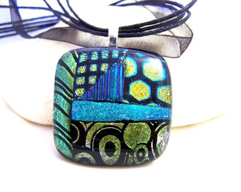 Green and Purple Dichroic Sailing  Pendant-Focal- Fused Glass- One of a Kind Leslie Dana-Made in New York