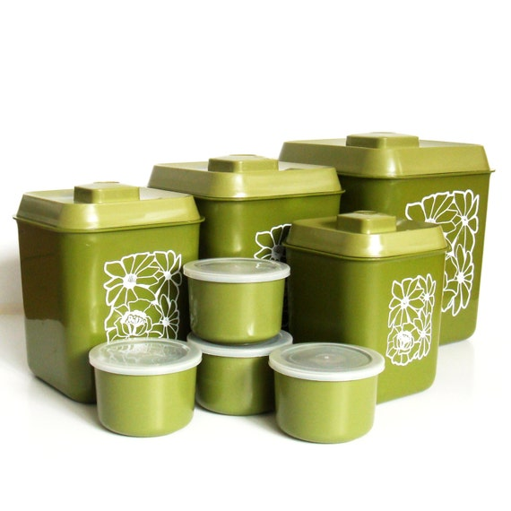 green canister sets kitchen 1970s avocado green canister set retro kitchen canisters with 3670