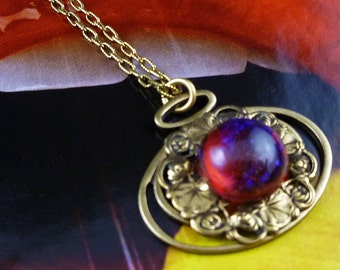 On Fire Dragon's Breath Glass Opal Brass Handmade Necklace - free U.S. Shipping