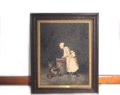 Oil Painting Reproduction / Vintage After Chardin 18th Century Masters Style Painting Washer Woman