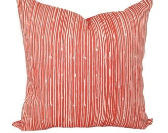 Pinstripe Coral STUFFED Pillow, Coral Scribble Stripe Throw Pillow, Stripe Pillow, Coral Decorative Pillow, Accent Throw Pillow - Free Ship