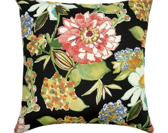 Mill Creek Pierette Licorice Black Floral Outdoor Decorative Throw Pillow - Free Shipping