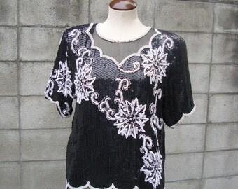Sequin Shirt Top Vintage 1970s 70s Disco Blouse Royal Feelings  Silk Black and White Women's L