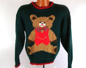 Ugly Christmas Sweater Vintage Teddy Bear Party Holiday Tacky