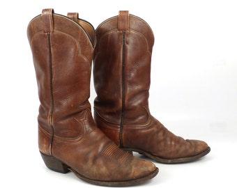Cowboy Boots Vintage 1980s Distressed Tony Lama Leather Brown  Men's 10 E