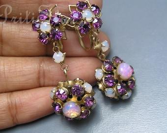 Vintage  Dangle Earrings Foil Opal glass Rhinestones  Fob Charm Costume jewelry