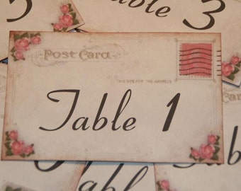 Wedding Table Number Cards - Vintage Postcard Style Shabby Chic -Pink Roses - Quantity 20