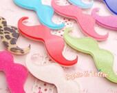 Acrylic Moustache Laser Cut Glitter Acrylic Cabochon (Kawaii Cabochon Decoden Pieces) - 2pcs