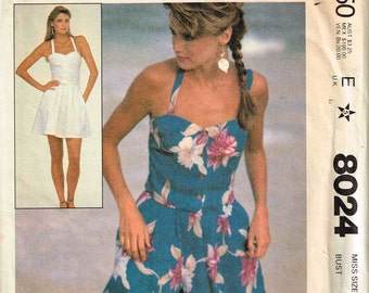 Beach Camisole Skirt and Culottes Vintage 1980s McCalls 8024 Misses Sewing Pattern Size 6 Bust 30.5 Thin Shoulder Straps