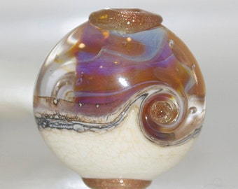 Amber Ivory Swirl Lentil with Goldstone Lampwork Glass Focal Bead