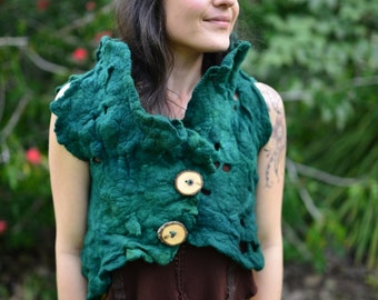Felt Melted Forest Green Pixie Woodland Forest Nymph Vest Top OOAK