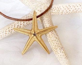 Large Gold Starfish Pendant - Sea Star Gold on Brass Pendant 45 mm