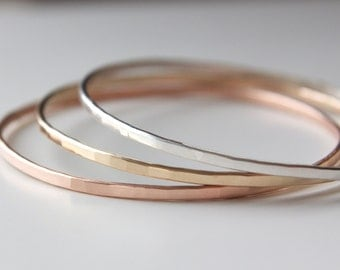 Stacking Bangles in Recycled Sterling Rose and Yellow Gold Hammered Textured Modern -set of 3