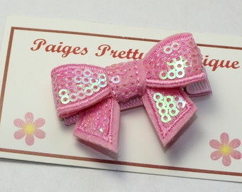 "2"" Light Pink Sequin Hair Bow-Toddler Hair Clip-Baby Hair Clip-Alligator Clip"